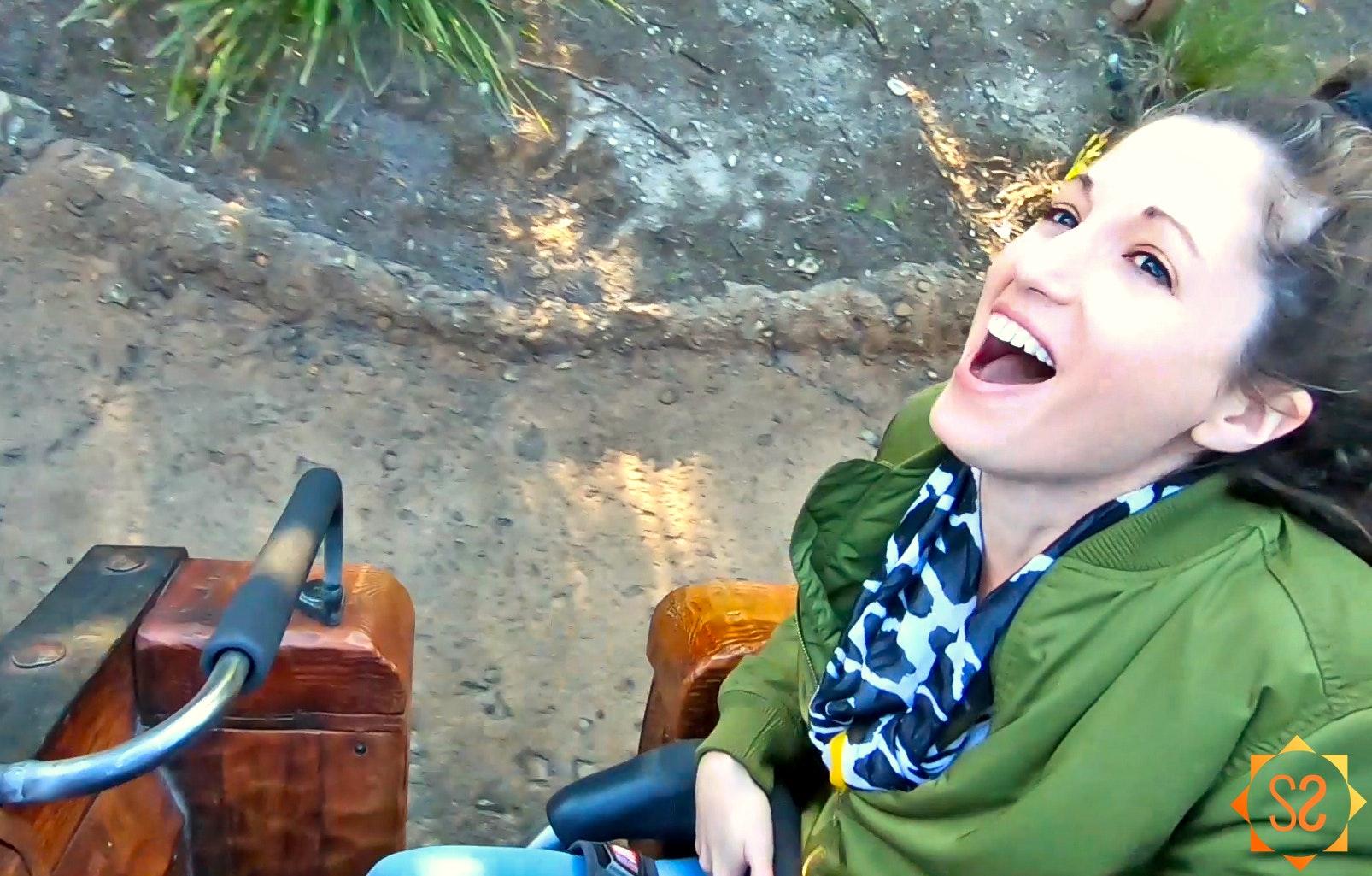 Laughing on Seven Dwarfs Mine Train