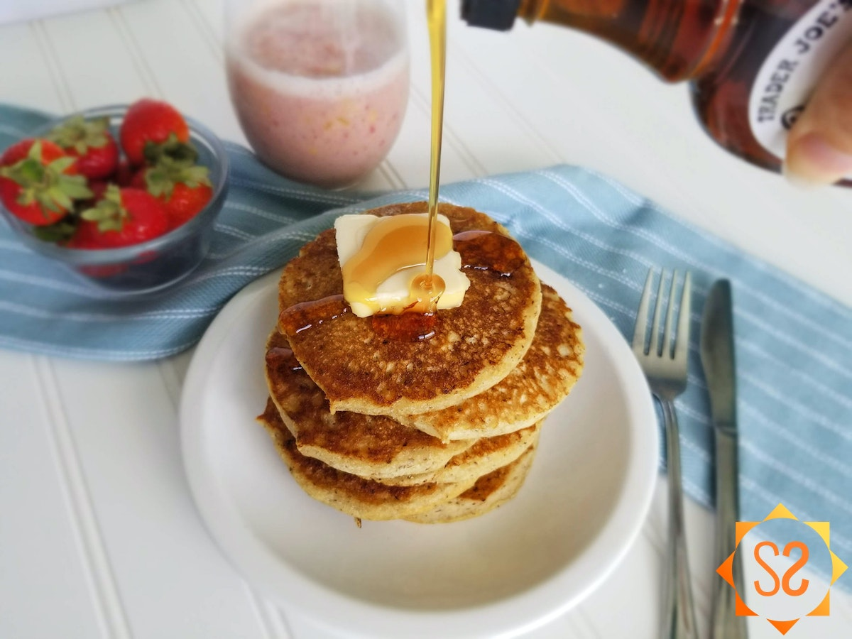 Vegan butter and maple syrup are the perfect toppings for these light and fluffy pancakes.
