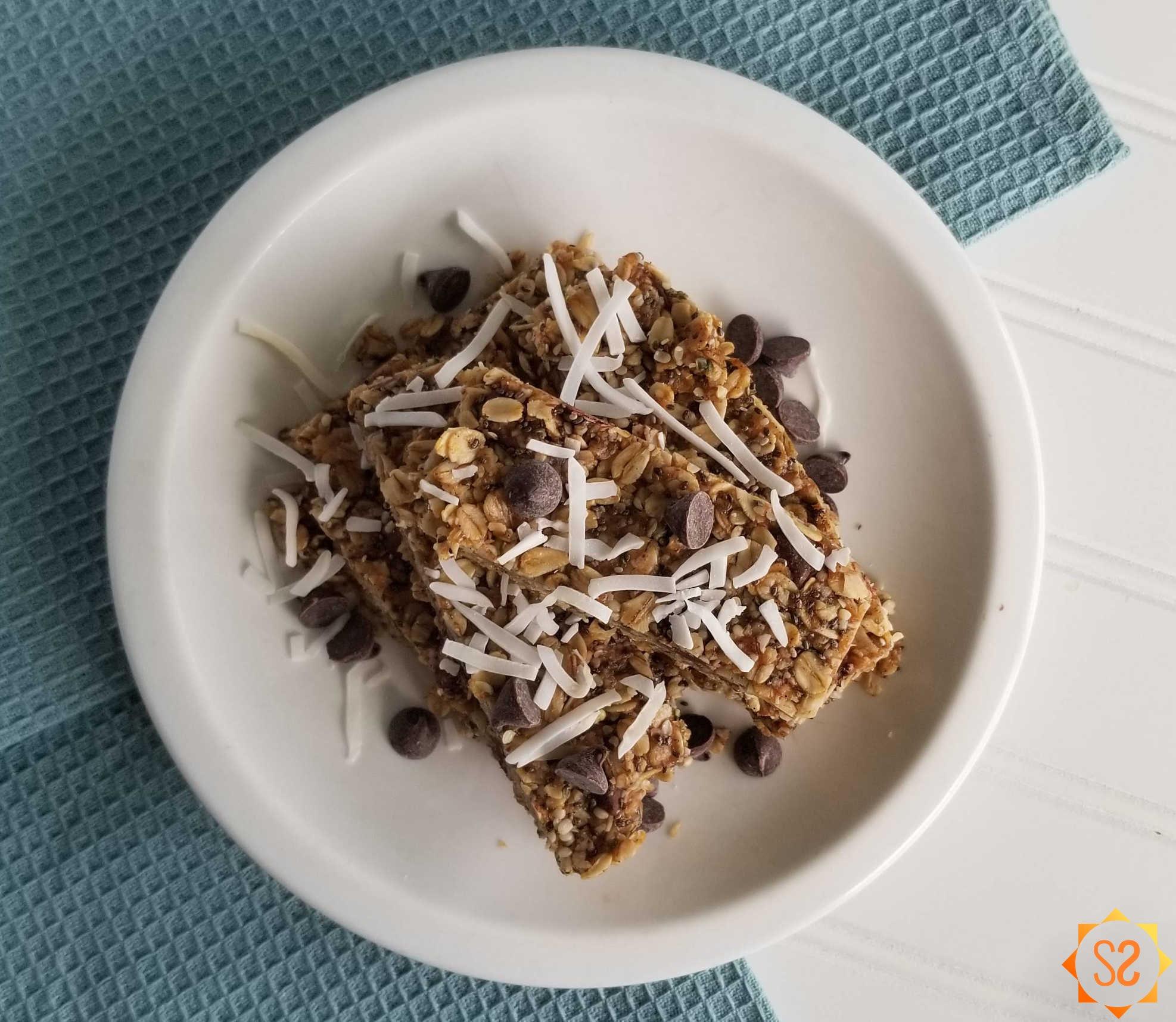 Granola bars on a plate