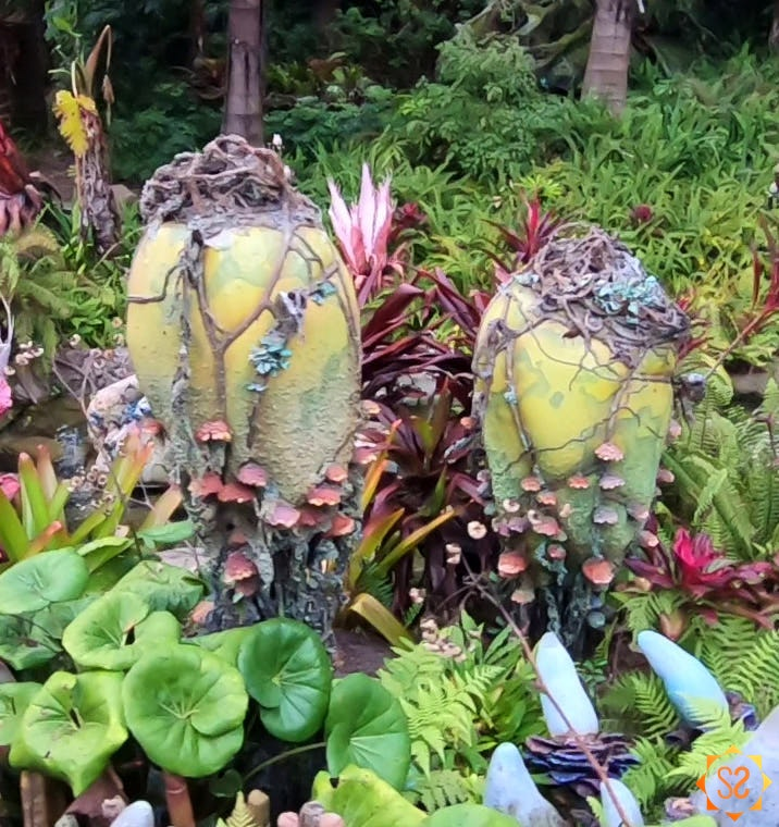 Two vein pods surrounded by other plant life at Disney's Pandora