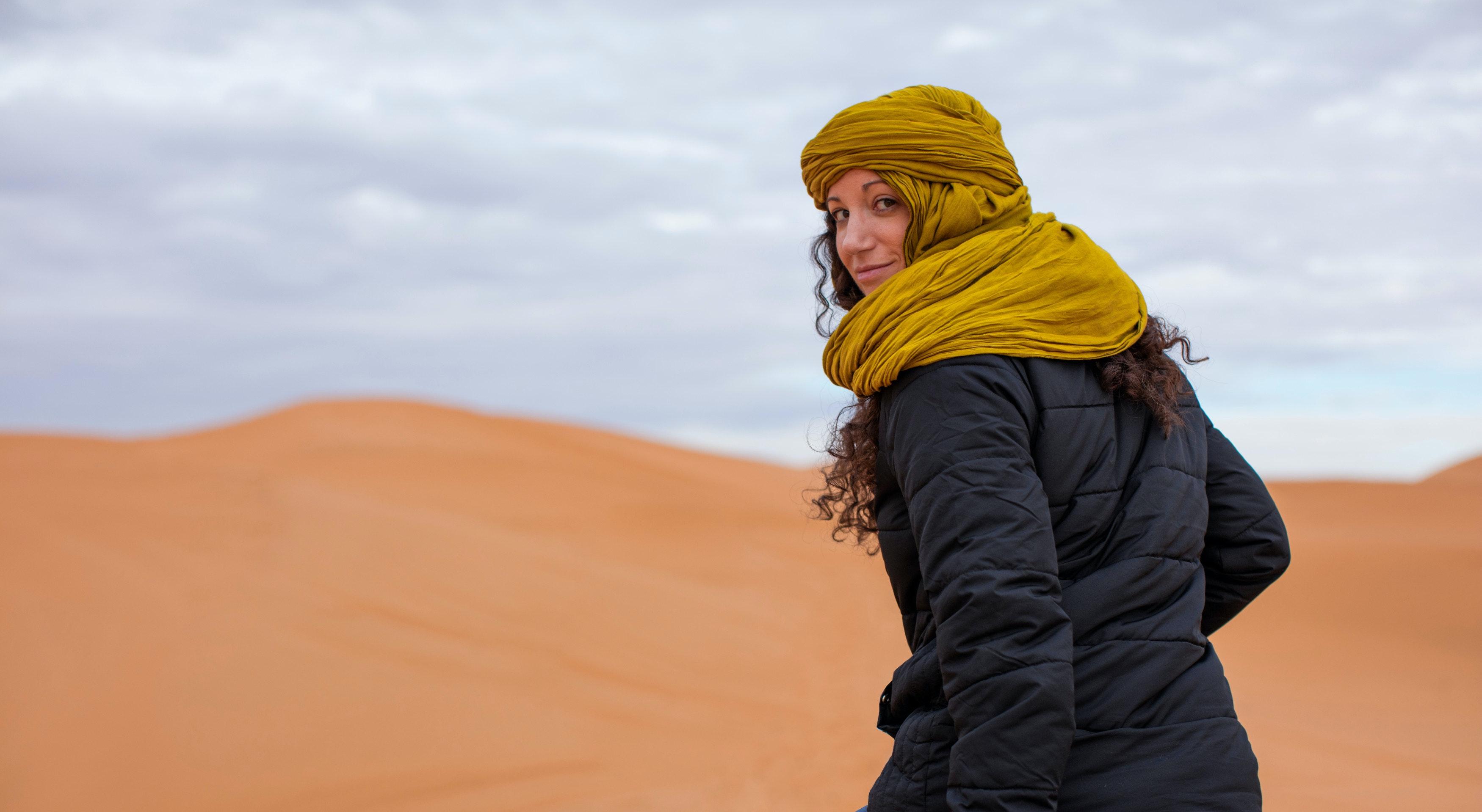 Riding camelback in the Sahara Desert, Erg Chebbi, Ouarzazate, Morocco