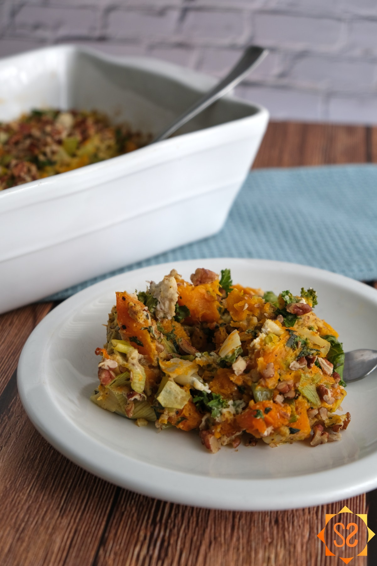 This butternut squash casserole provides a great balance for heavier holiday dishes.