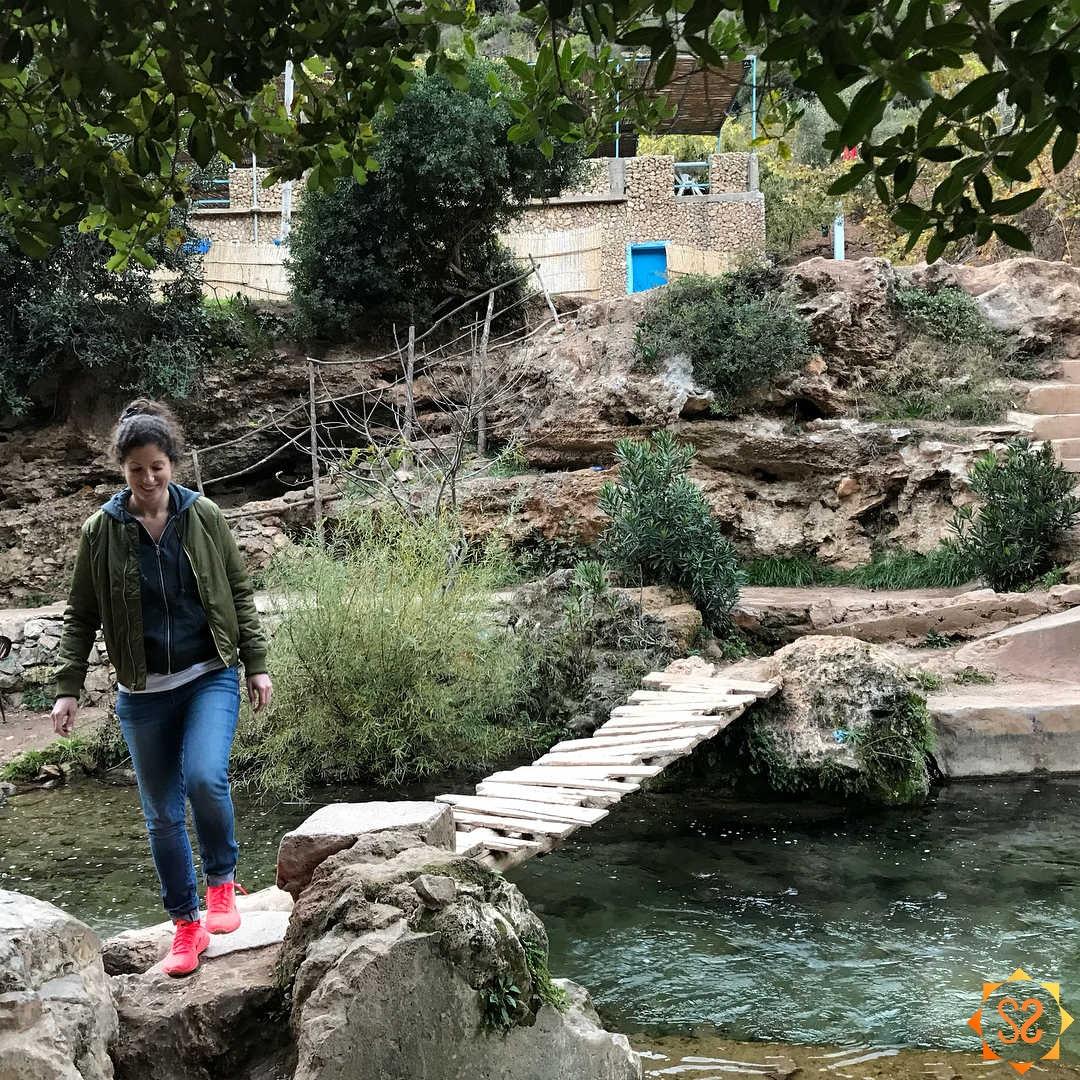 Steph crossing a foot bridge in Talassemtane National Park