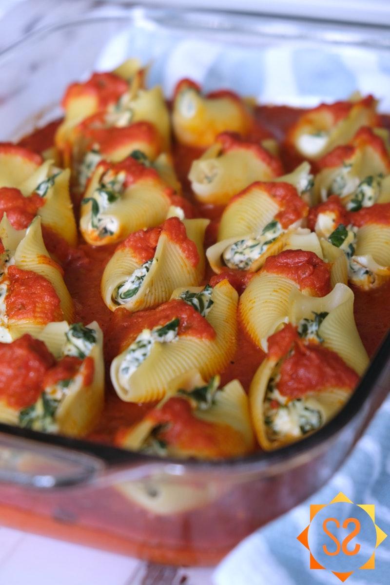 Stuffed shells in a casserole dish