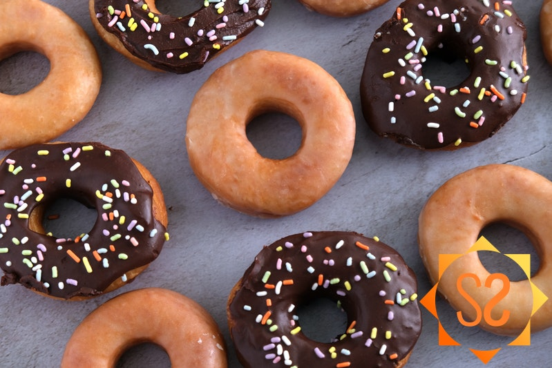 Vegan glazed donuts and vegan chocolate frosted donuts with sprinkles